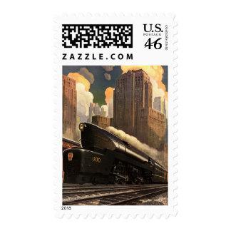Vintage City, T1 Duplex Train on Railroad Tracks Postage Stamp