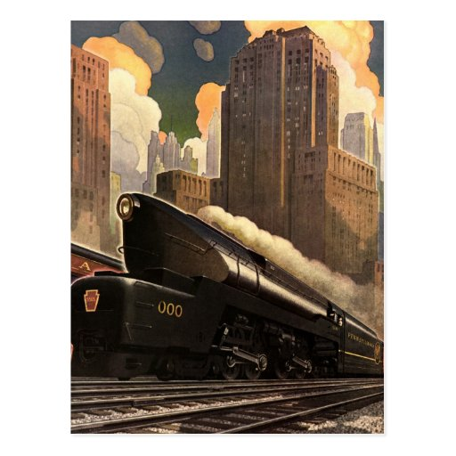 Vintage City, T1 Duplex Train on Railroad Tracks Postcard