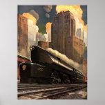 Vintage City, T1 Duplex Train on Railroad Tracks Print