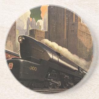 Vintage City, T1 Duplex Train on Railroad Tracks Sandstone Coaster