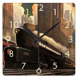Vintage City, T1 Duplex Train on Railroad Tracks Square Wall Clock