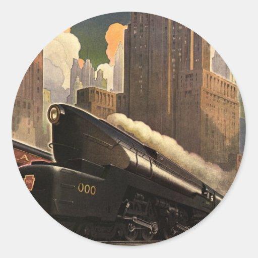 Vintage City, T1 Duplex Train on Railroad Tracks Round Stickers