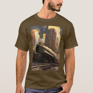 Vintage City, T1 Duplex Train on Railroad Tracks T-Shirt