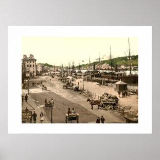 Vintage ciudad Quay de Irlanda, Waterford Póster