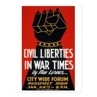 Vintage Civil Liberties in War Times Forum WPA Postcard