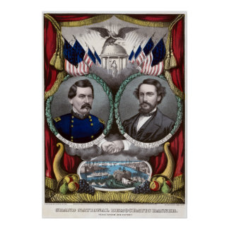 Vintage Civil War Democratic Presidential Election Poster