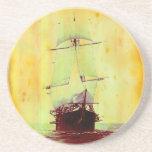 Vintage Civil War Hartford Sailing Ship Coaster