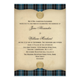 Vintage Clark Family Tartan Plaid Wedding Invites