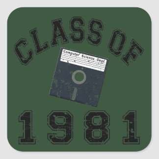 Vintage Class Of 1981 Computer Science Square Sticker
