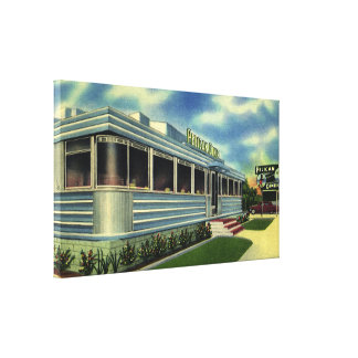 Vintage Classic 50s Retro Restaurant Pelican Diner Canvas Print