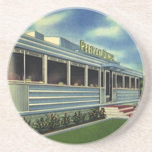 Vintage Classic 50s Retro Restaurant Pelican Diner Coaster