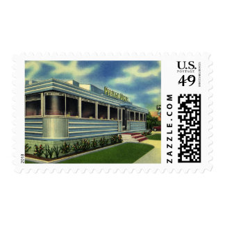 Vintage Classic 50s Retro Restaurant Pelican Diner Postage Stamp