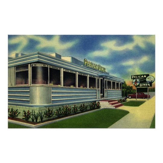 Vintage Classic 50s Retro Restaurant Pelican Diner Poster