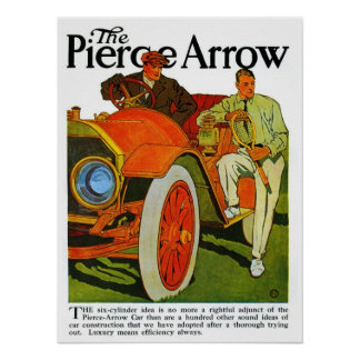 Vintage classic American 1900s Pierce Arrow car Poster