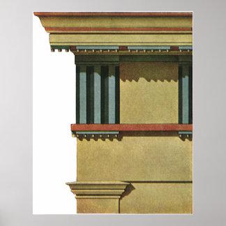 Vintage Classic Architecture, Temple Entablature Poster