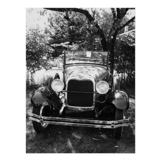 Vintage Classic Car in Black and White Poster