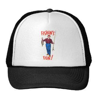 Vintage Classic Fishin's Fun Fishing Illustration Trucker Hats
