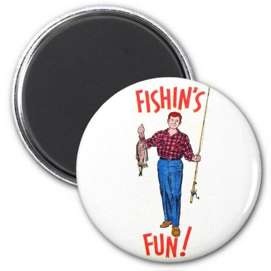 Vintage Classic Fishin's Fun Fishing Illustration Magnet