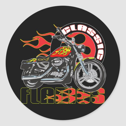Vintage Classic Flame Paint Job Motorcycle Classic Round Sticker