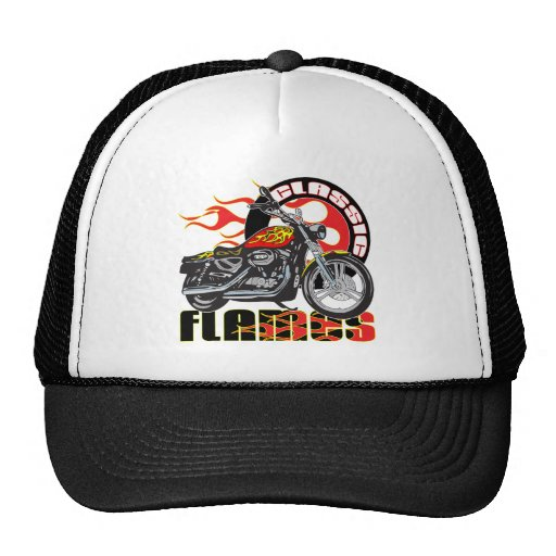 Vintage Classic Flame Paint Job Motorcycle Trucker Hat