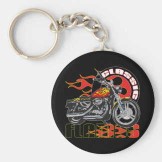 Vintage Classic Flame Paint Job Motorcycle Keychain
