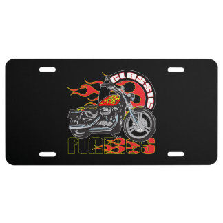 Vintage Classic Flame Paint Job Motorcycle License Plate