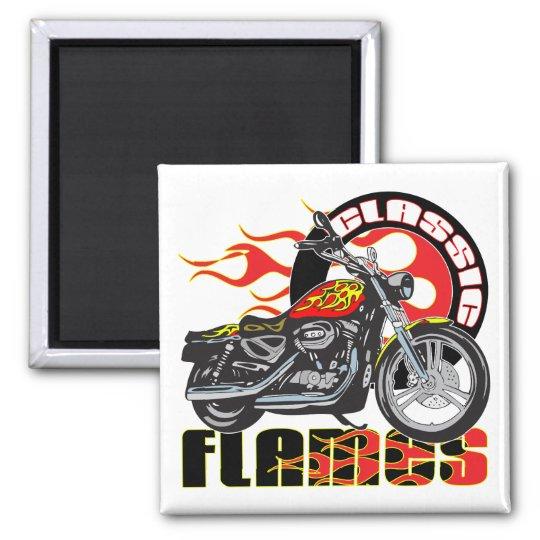 Vintage Classic Flame Paint Job Motorcycle Magnet