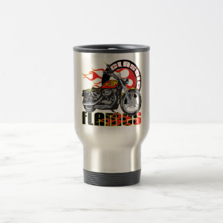 Vintage Classic Flame Paint Job Motorcycle Travel Mug