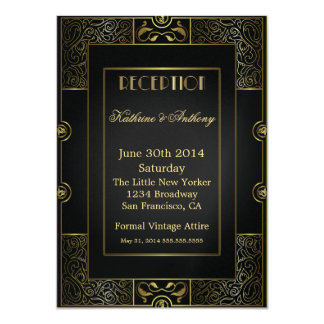 Vintage Classic Gatsby Style Reception 4.5x6.25 Paper Invitation Card