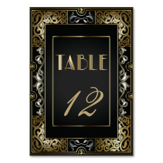 Vintage Classic Gatsby Style  Table Number Card