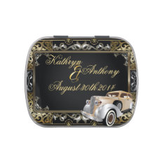 Vintage Classic Gatsby Style Wedding Favor Jelly Belly Candy Tin at Zazzle