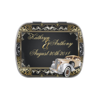 Vintage Classic Gatsby Style Wedding Favor Jelly Belly Tin