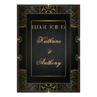 Vintage Classic Gatsby Style  Wedding Invitation Custom Invitation