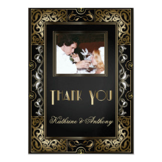 Vintage Classic Gatsby Style Wedding Thank You 4.5x6.25 Paper Invitation Card