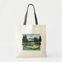 Vintage classic golf course reusable grocery bag