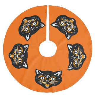 Vintage Classic Halloween Black Cat Face Fangs Brushed Polyester Tree Skirt