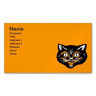 Vintage Classic Halloween Black Cat Face Fangs Business Card Magnet