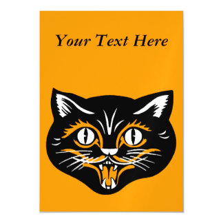 Vintage Classic Halloween Black Cat Face Fangs Magnetic Card