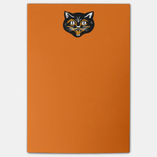 Vintage Classic Halloween Black Cat Face Fangs Post-it Notes