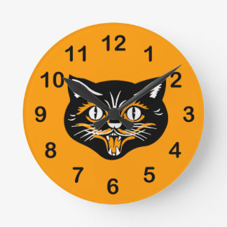 Vintage Classic Halloween Black Cat Face Fangs Round Clock