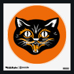 """Vintage Classic Halloween Black Cat Face Fangs Wall Sticker<br><div class=""""desc"""">This vintage image has a smiling cat face done in Halloween colors of black,  orange,  and white. His mouth is open so you can see his scary fangs. See my store Art by MAR for matching products with this design.</div>"""