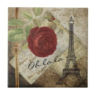 Vintage Classic Paris Floral Style Ceramic Tile