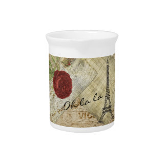 Vintage Classic Paris Style - Red Rose Drink Pitcher
