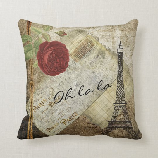 Vintage Clic Paris Style Red Rose Throw Pillow