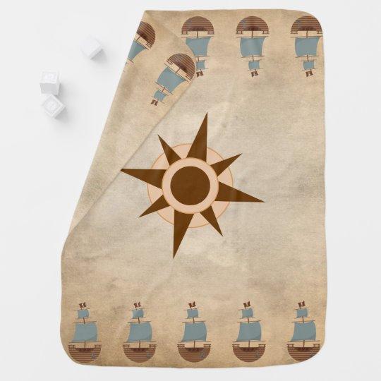 Vintage Clic Pirate Ship Comp Nursery Decor Stroller Blanket