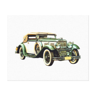Vintage Classic Racing Green and Cream Car Canvas Print