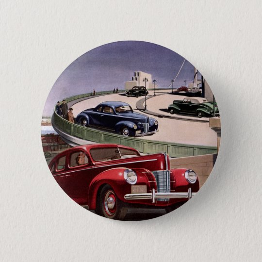 Vintage Classic Sedan Cars Driving on the Freeway Button