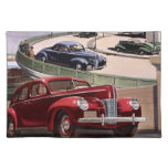 Vintage Classic Sedan Cars Driving on the Freeway Cloth Placemat