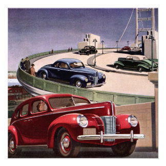 Vintage Classic Sedan Cars Driving on the Freeway Personalized Announcements