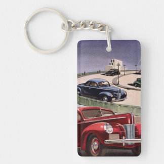 Vintage Classic Sedan Cars Driving on the Freeway Keychain